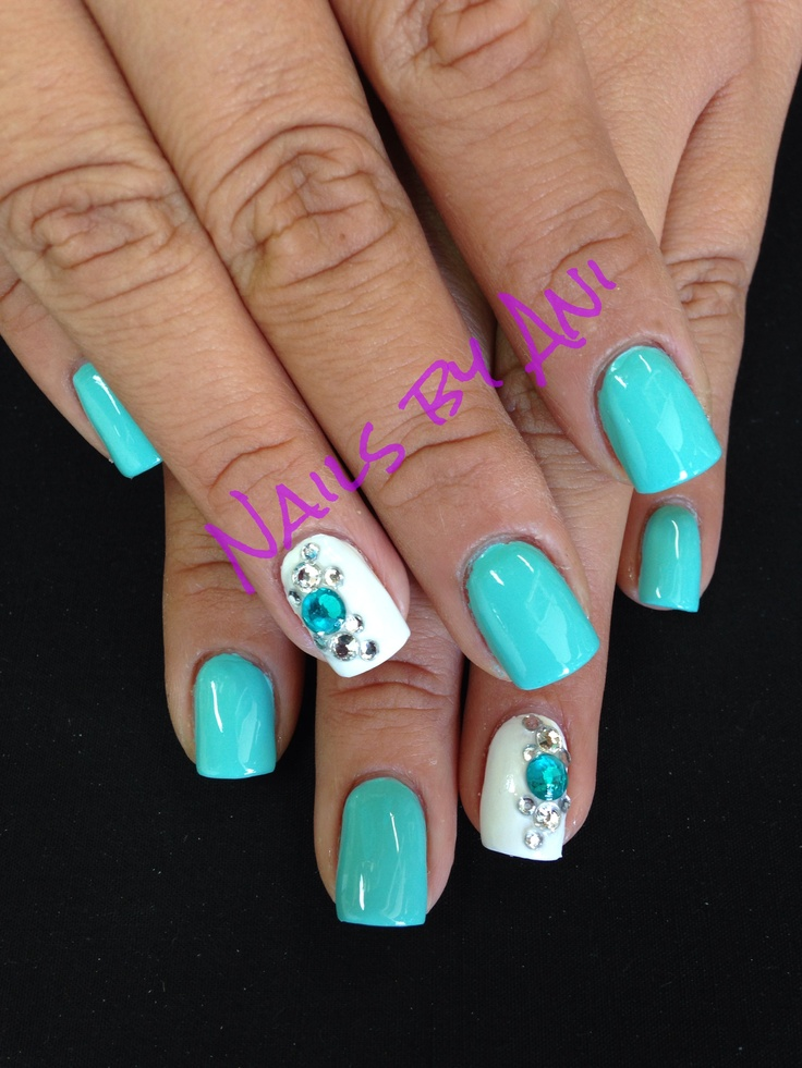 Turquoise And White Acrylic Nail Designs Pinterest