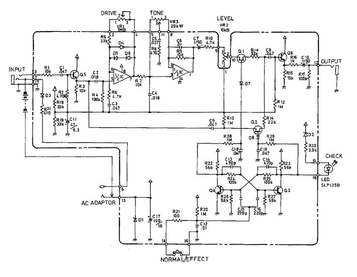 boss od1 overdrive guitar pedal schematic diagram