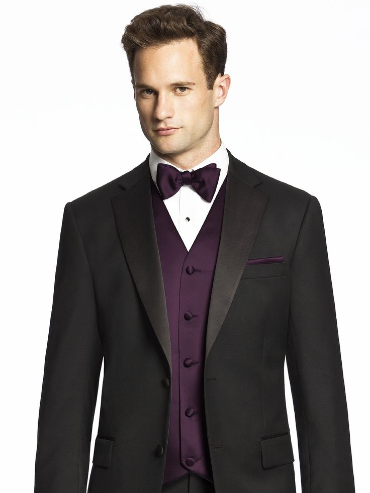 Black suit with vest and bow tie. Color: Aubergine