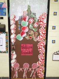 Winter Theme/Gingerbread door decoration. Got the candy ...