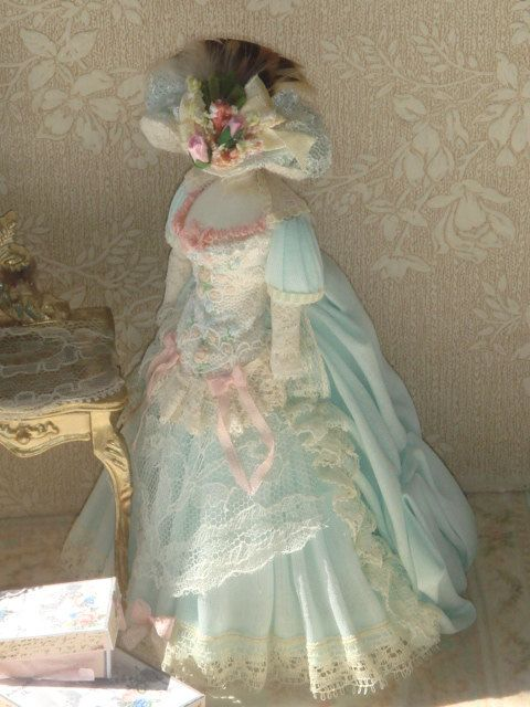 Lady Fashion Clothing Dollhouse French Style Dress On Mannequin. 1:12 Dollhouse