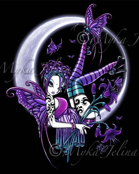 Steampung Girl Holding Skull Wallpaper Details About Crescent Moon Fairy Art Print Gothic Fae