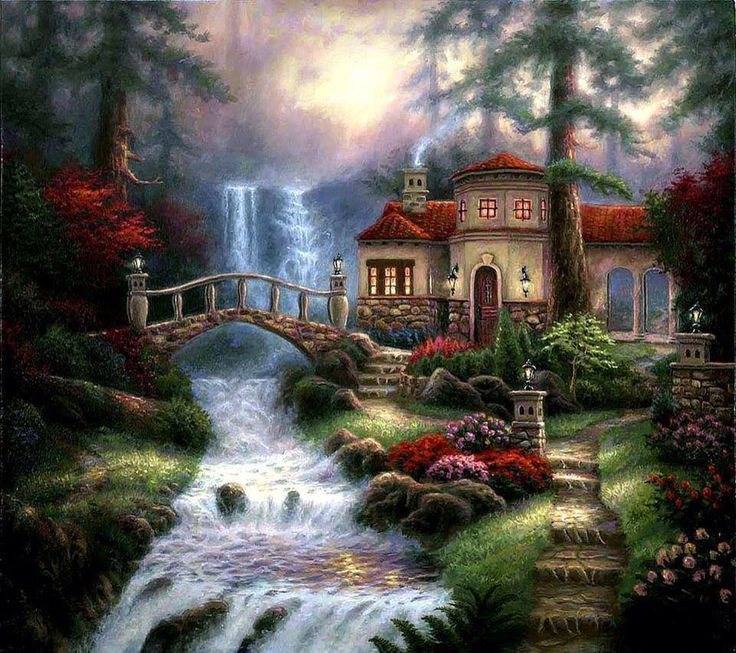American Paint And Wallpaper Fall River Magical House Lanterns On Tower Water Cascades On This