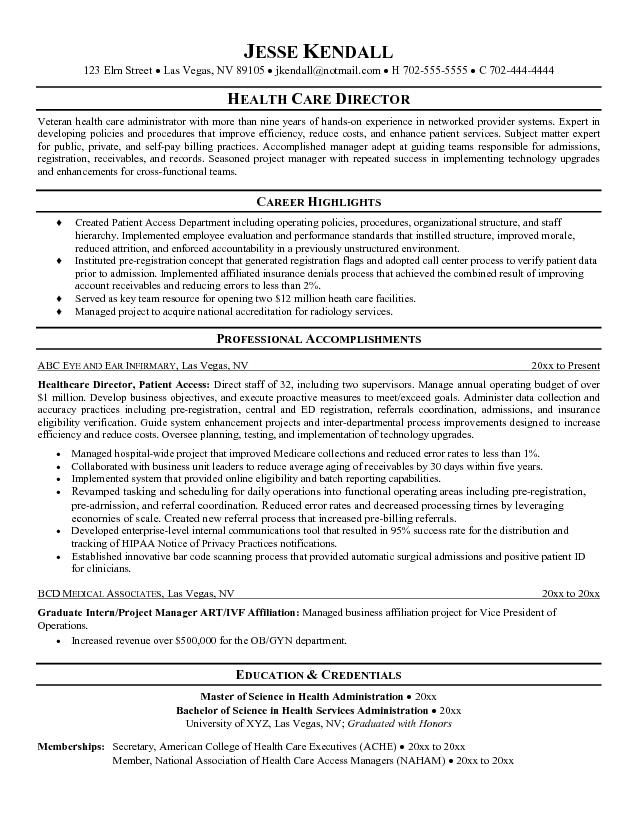 resume of mba healthcare management sample