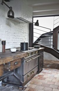 Rustic modern kitchen -- whitewashed brick, terracotta ...