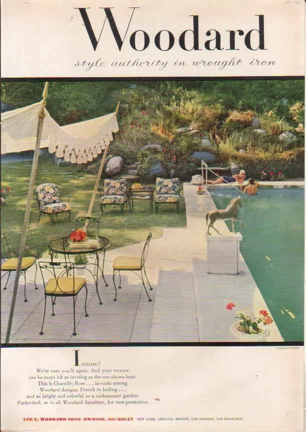 1954 Lee L Woodard Sons Wrought Iron Patio Furniture