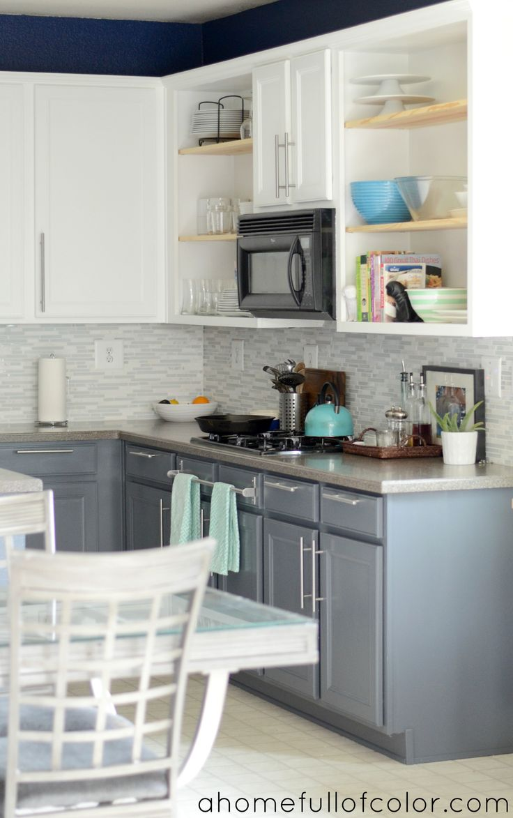 turquoise with citron two toned kitchen cabinets Painted Two Tone Kitchen Cabinets White Uppers and Gray Lowers Benjamin Moore Simply White