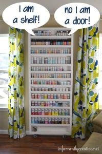 DIY ~ Storage/bookcase door storage with hidden ironing ...