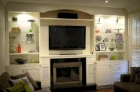 custom wall units with fireplace | icicle white built in ...