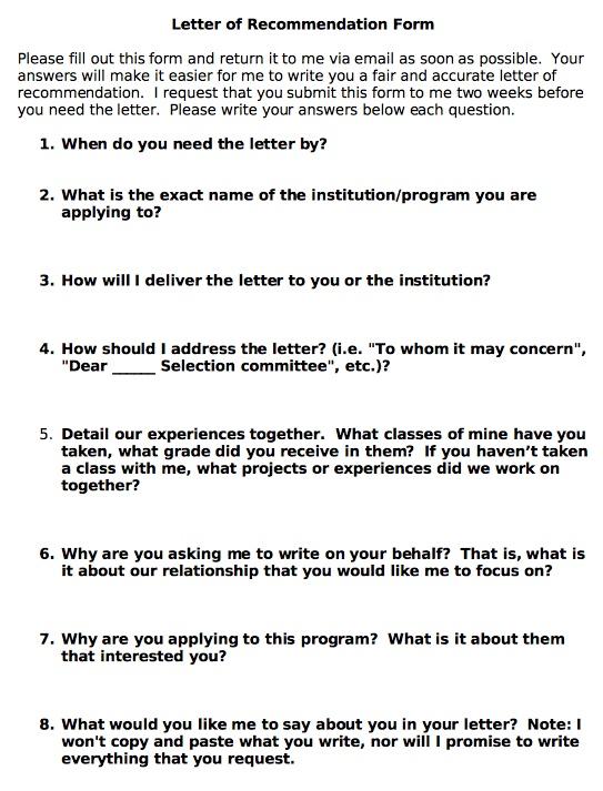 asking for letter of recommendation sample