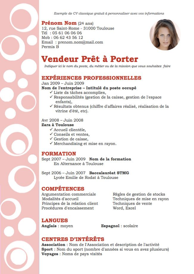 description yourself cv en francais