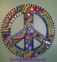 Mosaic Peace Sign Funky Retro Hippie BoHo Wall Art ...
