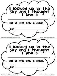 kindergarten cloud worksheets   Little Cloud by Eric Carle ...