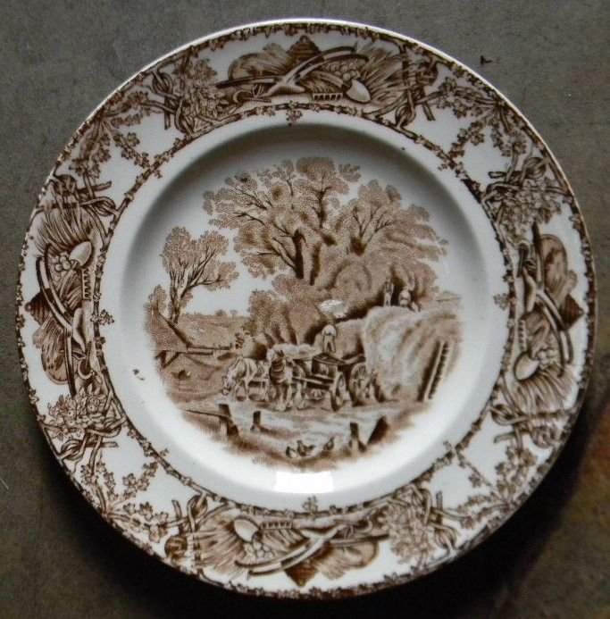 Hay Tray Table Brown Transferware Rural Scenes Plate Harvest Loading Hay