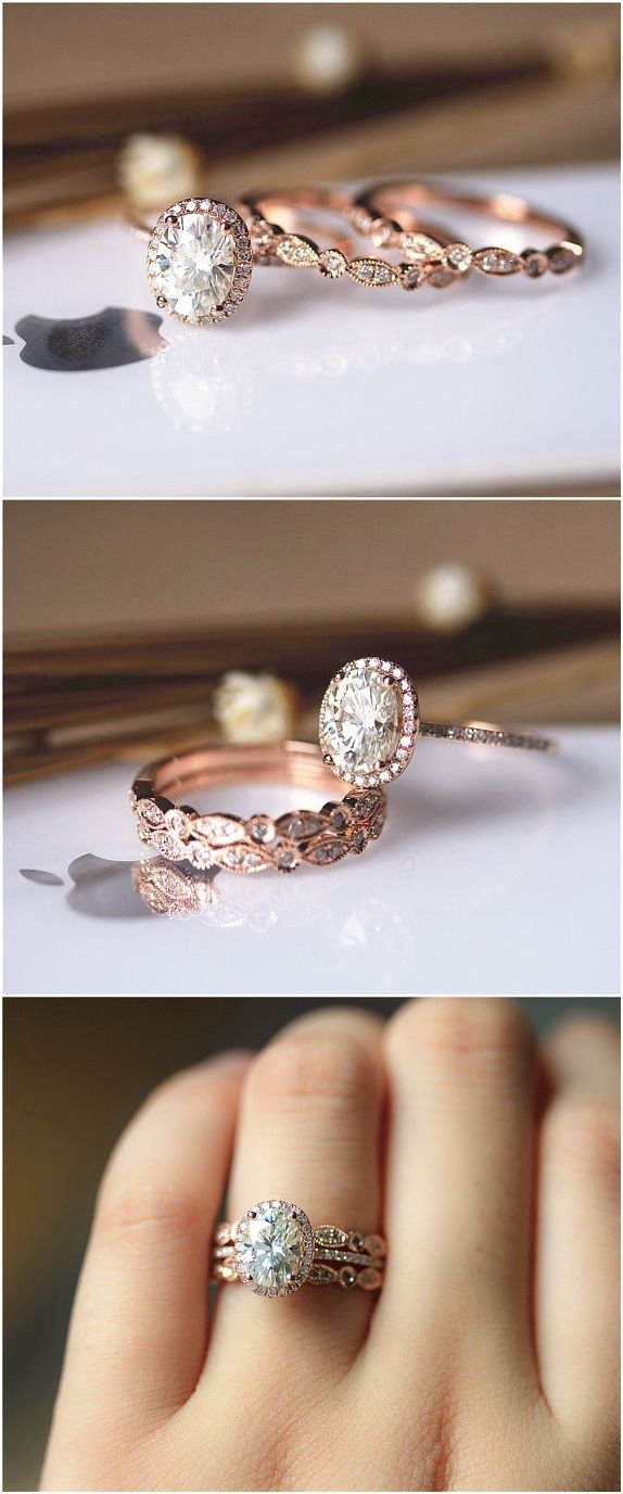 gold engagement rings gold wedding rings 20 Rose Gold Engagement Rings That Will Leave You Speechless