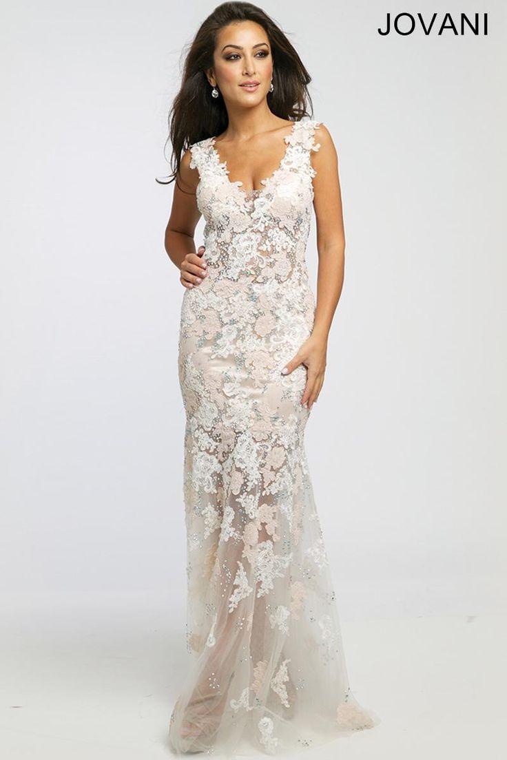 destination bride jovani wedding dress Jovani Prom Informal wedding gown Lace whit dress with sheer bottom Lace