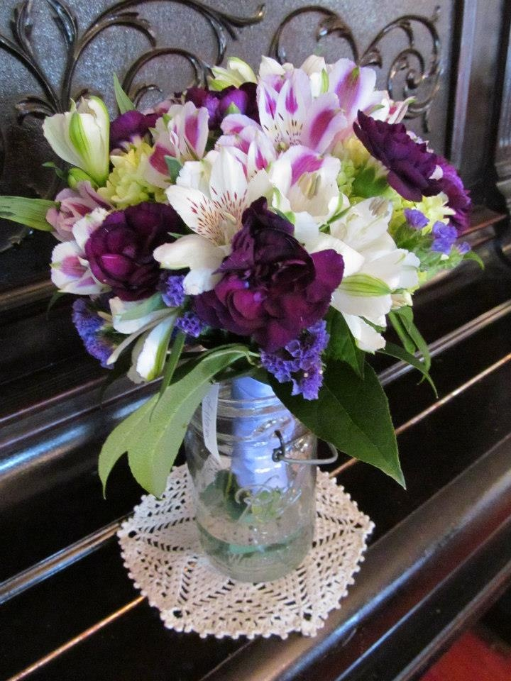 Alstroemeria Flower In English Wedding Bouquet Of Green Hydrangea, White Roses, Dark