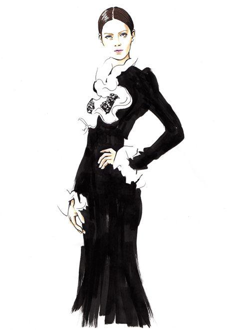 Modern Pin Up Girls Wallpaper Elegant Fashion Illustration Of A Model In A Long Black