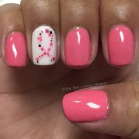 October breast cancer ribbon awareness nail art design ...