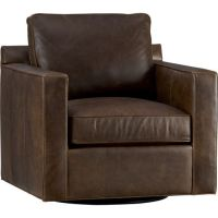 Davis Leather Swivel Chair - Crate and Barrel | Chairs ...