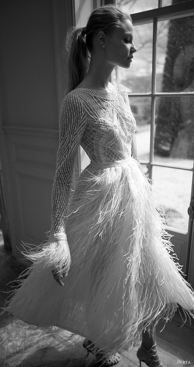 feather wedding dresses feathered wedding dress Berta bridal