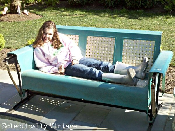 Metal Glider Sofa 1940 S Antique Vintage Art Deco Metal