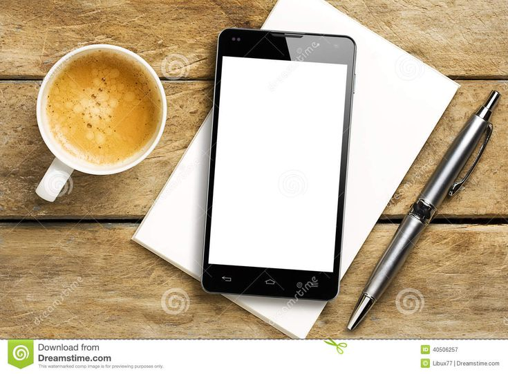 Smartphone blank screen coffee pen notepad download from