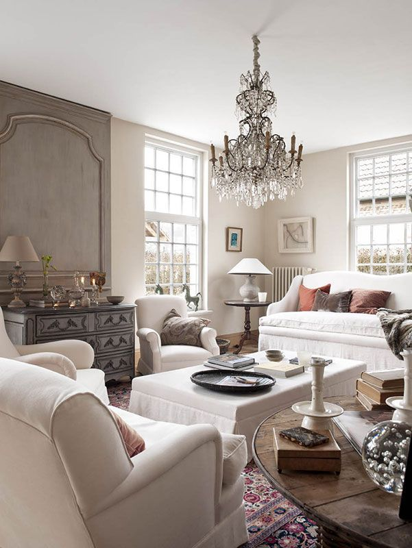 Sofa Design Grey Colour French Farmhouse Living Room, Chandelier | Fab French