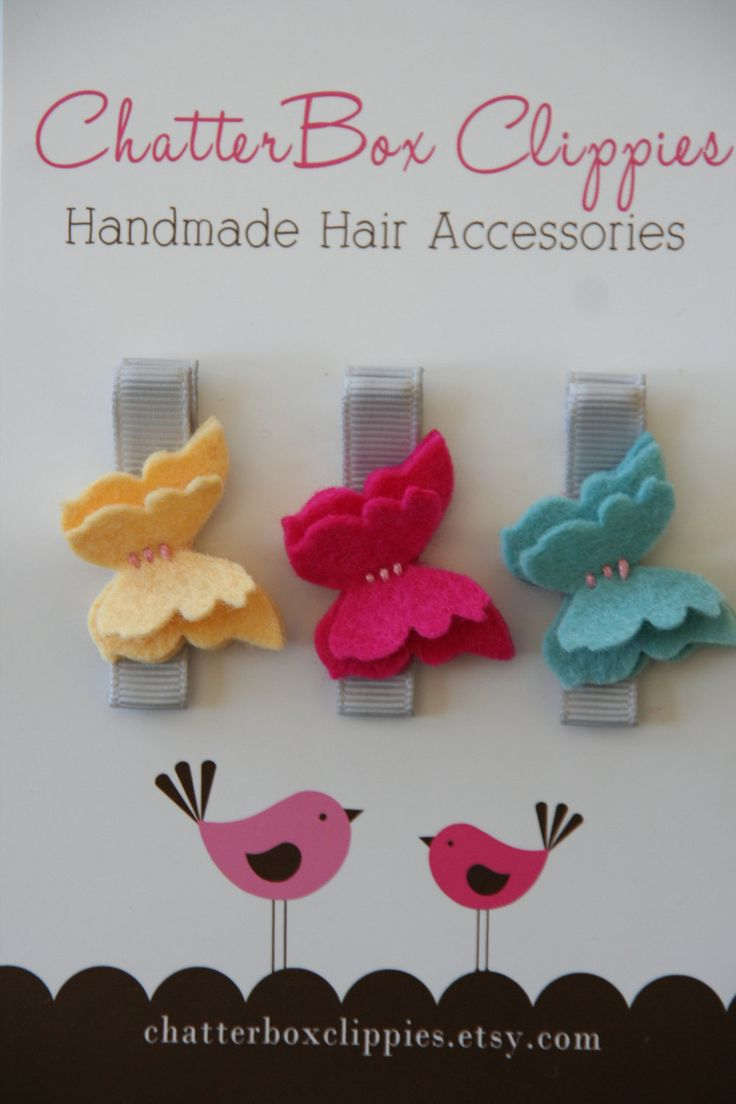Baby hair clips petite butterflies in brights wool felt baby alligator clips infant toddler girls
