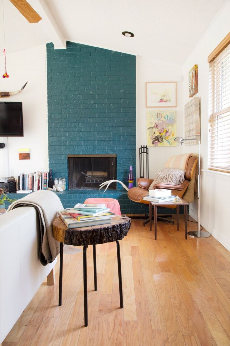 Blue Fireplace House Tour: An Art-filled Austin Home | Fireplaces, Bricks