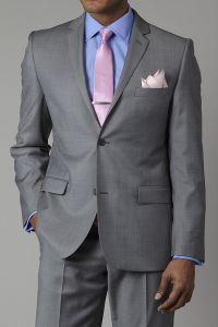 Grey Suit, Light Blue Shirt, Pink Tie   Wedding Suits ...