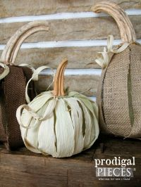 Corn Husk Pumpkins & Wreath ~ Fireplace Makeover ...