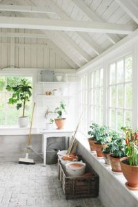 White sunroom / greenhouse / potting shed with vaulted ...