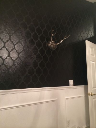 High gloss on matte black stenciled walls, over white high gloss wainscoting. Office walls. | My ...