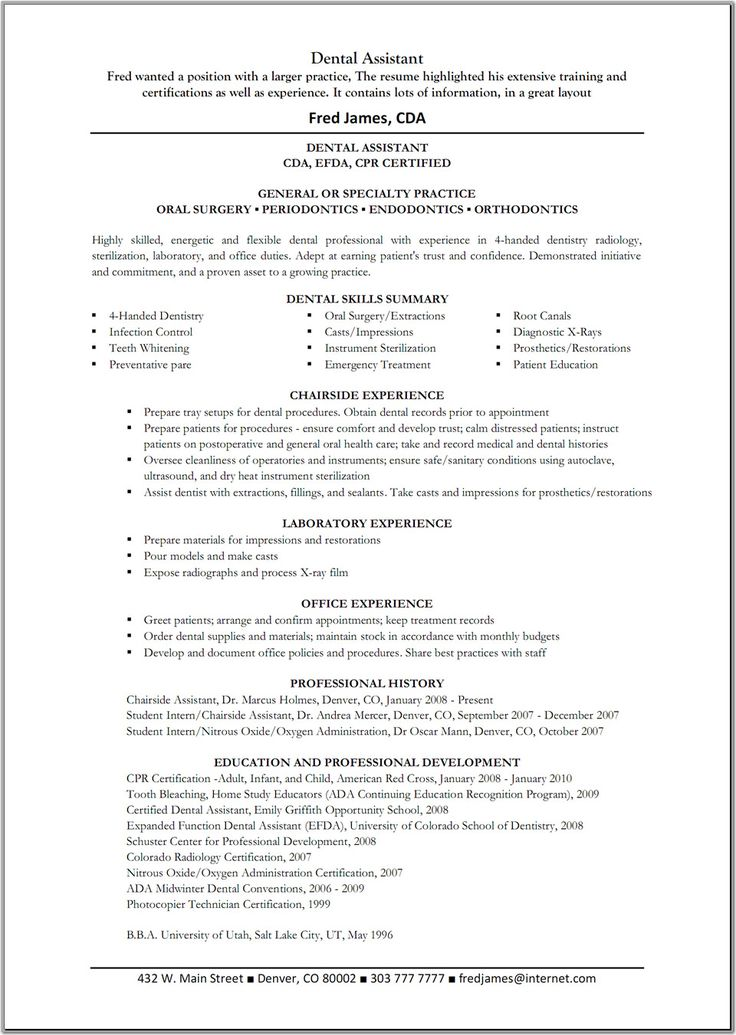 resume ideas for dental assistant