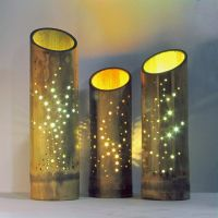 Large: Feather design bamboo lamp with glowing lighting ...