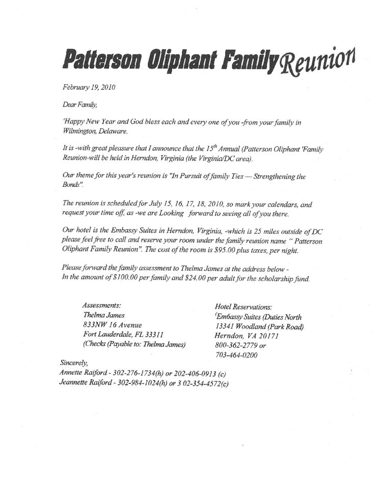 Printable Example Of Family Reunion Program Patterson