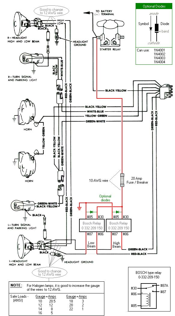 headlight relay wiring diagrams