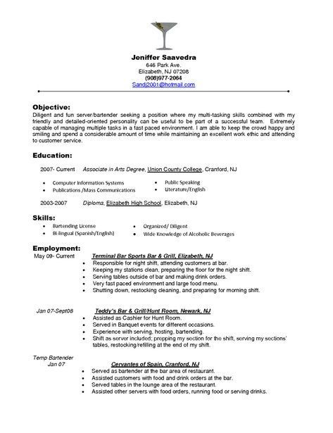 resume words for restaurant server