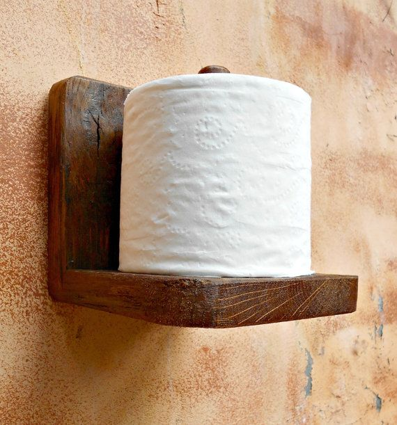 Toilet Paper Holder Rustic Wood Tissue Paper Holder