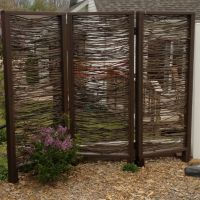 Outdoor privacy screen installed. Made with branches by my ...