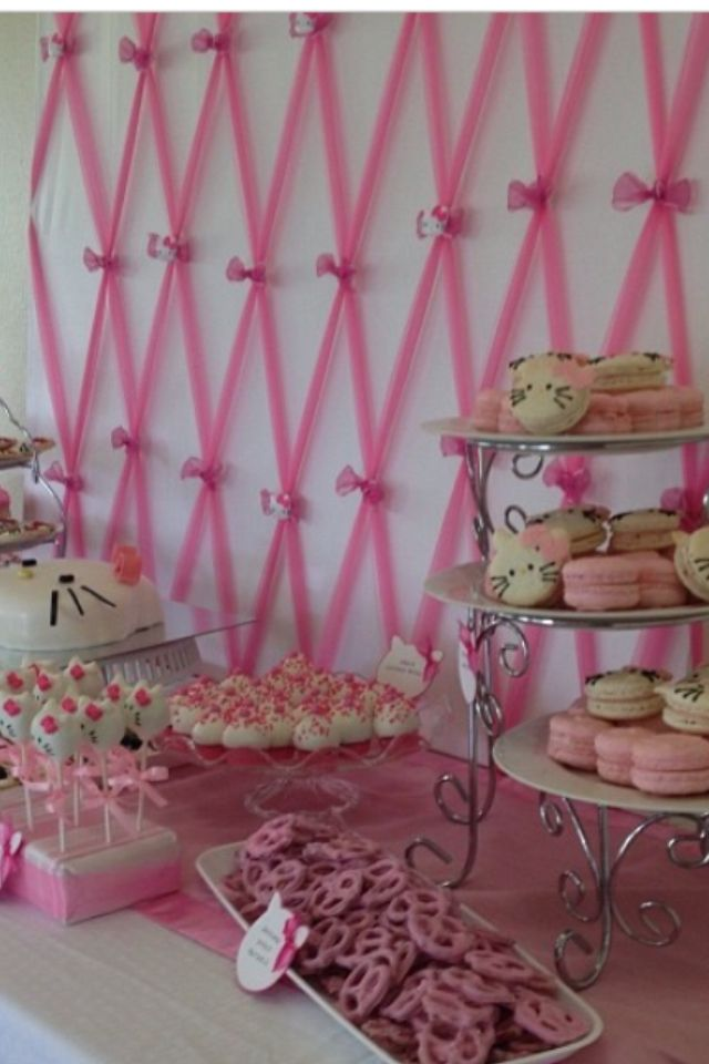 Close up on pink tulle backdrop for hello kitty baby