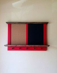 Framed Hanging Corkboard and Chalkboard with Key Holder