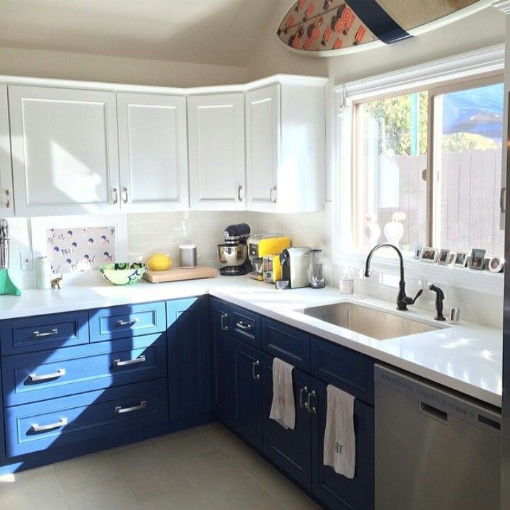Accessible Upper Kitchen Cabinets Two-tone Kitchen Cabinets: White Blue | For The Home