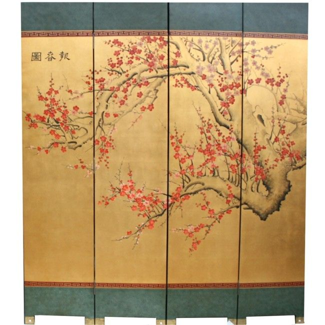 Antique Chinese Four Panel Screen With Silk On Wood