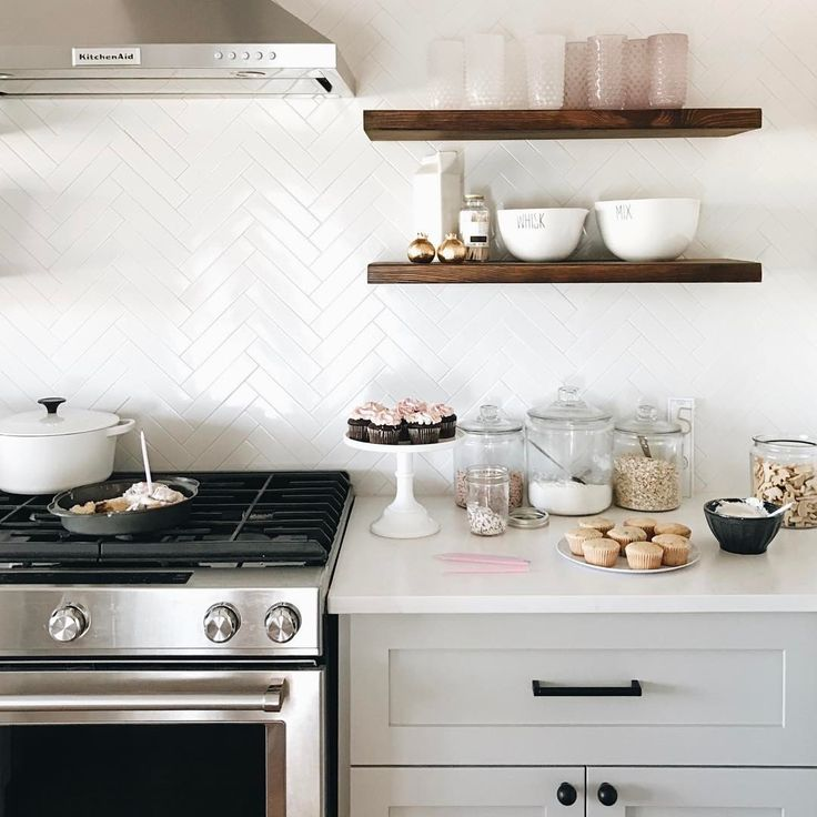 Open Kitchen Shelves Using Our Collector S Shelving System With 25+ Best Herringbone Backsplash Ideas On Pinterest