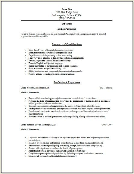 hospital pharmacist resume sample