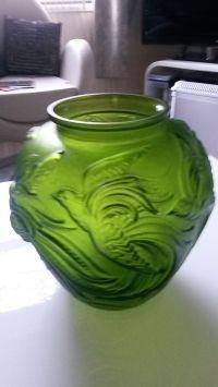 Art Deco Verlys Original Mould Green Glass Vase / Lamp ...