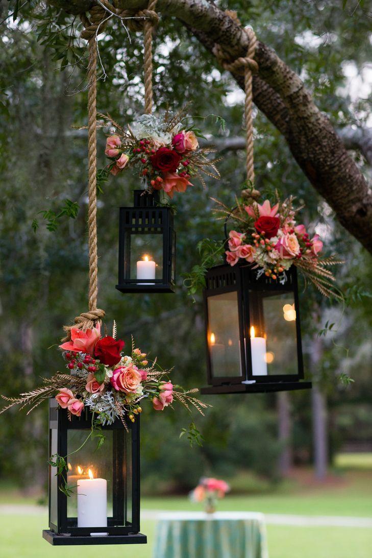 garden wedding decorations wedding decoration ideas Pink Flower Decorated Hanging Lantern Wedding Decor Hopkins Studios https www