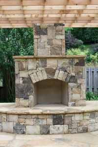 Outdoor Stone Fireplace with Pergola | Fireplaces and ...